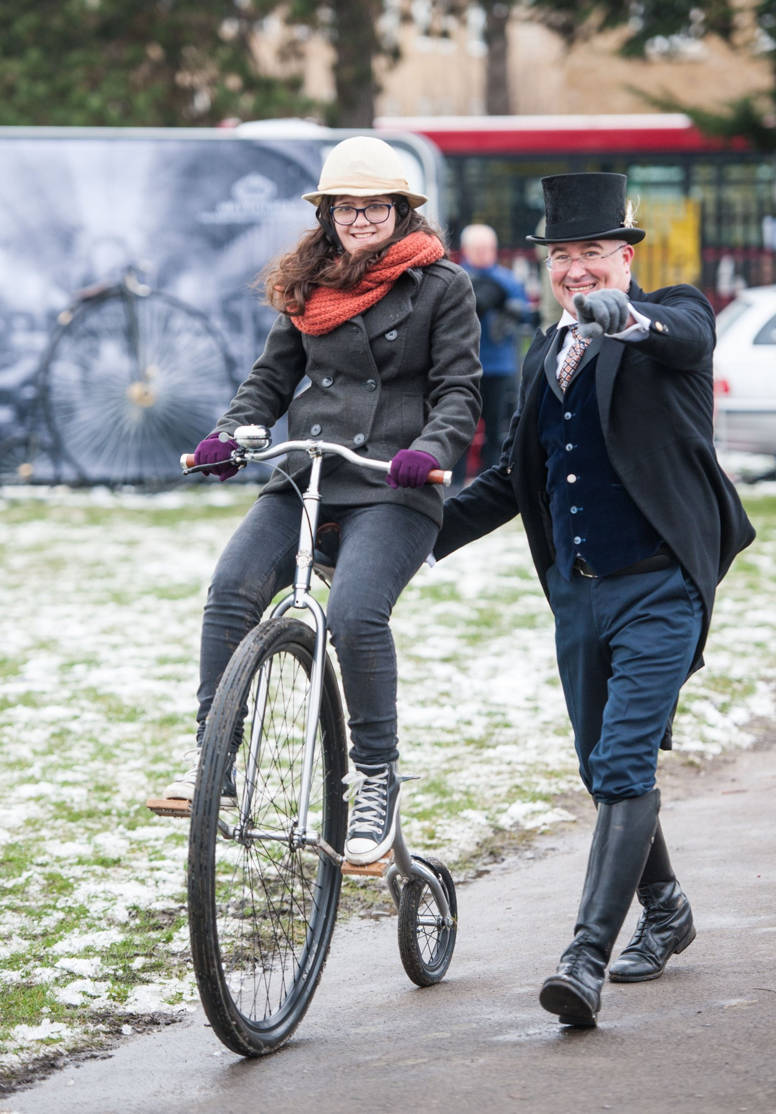 Penny-farthing recreation at Victoria Recreation Ground, Wheels of Time. Photo: Charlotte Levy